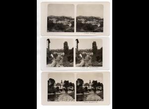 AK-2327/ 3 x Glatz Schlesien NPG Stereofoto ca.1910