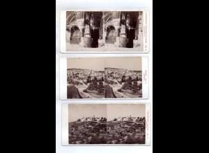 AK-2442/ 3 x Palästina Jerusalem Bethlehem Stereofoto v Alois Beer ~ 1900