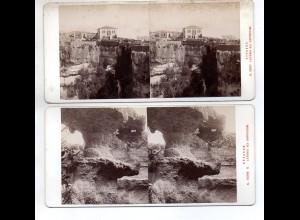AK-2447/ 2 x Syrakus Latomia Italien Stereofoto v Alois Beer ~ 1900