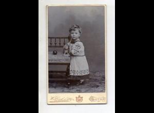 Y13220/ CDV Foto kleines Kind Mädchen mit Stofftier Foto Zink & Sohn, Gotha