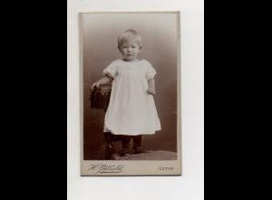 Y13278/ CDV Foto kleines Mädchen, Kind Foto H. Pätzold, Gotha ca.1890