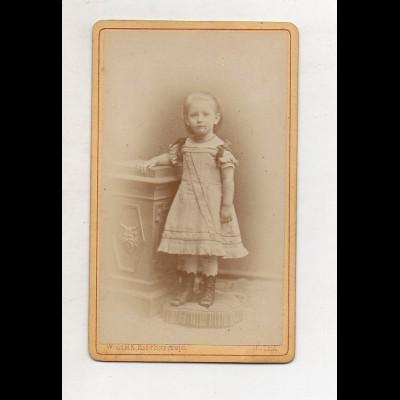 Y13279/ CDV Foto kleines Mädchen, Kind Foto W. Zink, Gotha ca.1880