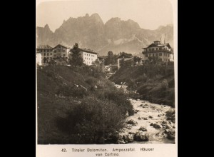 AK-2477/ Ampezzozal Häuser von Cortino Dolomiten NPG Stereofoto ca. 1905