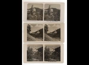 AK-2496/ 3 x Schloß Welsberg Pustertal Italien NPG Foto Stereofoto ca.1905