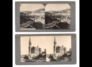 AK-2590/ 2 x Palästina Bethlehem, Jerusalem Stereofoto ca.1905