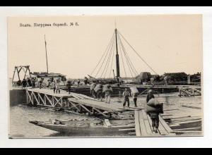 XX005531/ Wolga Scenerie Schiffe werden entladen Rußland AK ca.1910 Nr.6