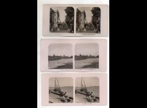 AK-2684/ 3 x Cairo Kairo Shepheards Hotel, Nil Ägypten NPG Foto Stereofoto 1905