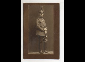 Y14056/ Kabinettfoto Soldat mit Pickelhaube Paradebusch ca.1910 Militär