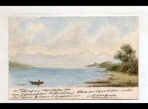 S2343/ Bei Tutzing Starnberger See handgemalte AK von Generallt. von Euler 1899