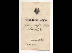 Y14292/ Landsturm-Schein ausgestellt in Braunschweig 1888
