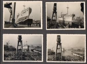 C3091/ 4 x Original Foto Stapellauf Frachtschiff Amelie Thyssen 1957