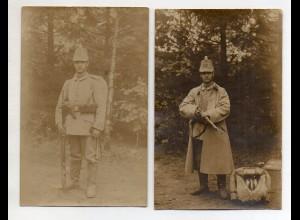 Y14504/2 x Foto AK Soldat mit Gewehr Sturmgepäck Regiment 18 1915