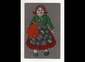 Y14362/ Alte Frau Filz aufgeklebt AK ca.1912