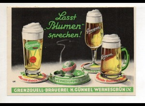 DP428/ Grenzquell-Brauerei H. Günnel, Wernesgrün Bier AK Reklame ca.1935