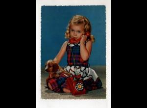 DP423 / Mädchen mit Hund Cocker Spaniel Telefon AK ca.1965