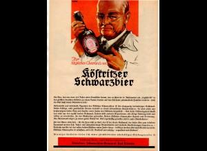 C3099/ Köstritzer Schwarzbier Brauerei Werbeblatt ca.1950 Bier