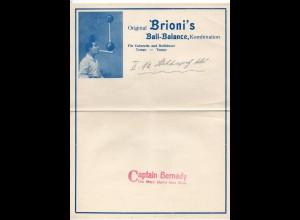 C3103/ Original Brioni`s Ball-Balance Akrobat Variete Briefkopf ca. 1935