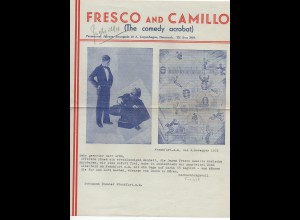 C3113/ Fresco and Camillo Comedy Akrobaten Variete Zirkus Brief 1935