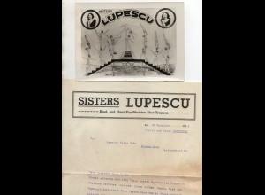 C3233/ Sisters Lupescu Artisten Variete Zirkus Foto und Brief 1935