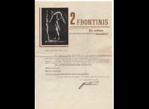 C3114/ 2 Frontinis die goldene Sensation Artisten Variete Brief 1936