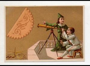 Y14426/ Biscuits Lefevre altes Kaufmannsbild Teleskop Kekse Kinder Litho