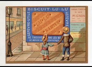 Y14430/ Biscuits Lefevre altes Kaufmannsbild Kekse Kinder Litho