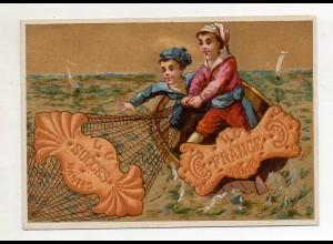 Y14447/ Biscuits Lefevre altes Kaufmannsbild Kinder fischen, Kekse Litho