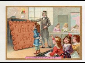 Y14438/ Biscuits Lefevre altes Kaufmannsbild Schule Kinder Kekse Litho