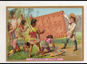 Y14439/ Biscuits Lefevre altes Kaufmannsbild Indianer Kinder Kekse Litho