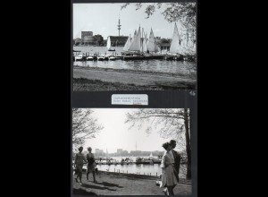 C3734/ 2 Fotos Hamburg Alster Bootsvermietung ca. 1965-70 17 x 13 cm