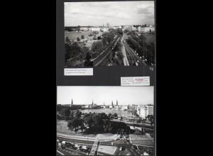 C3731/ 2 x Foto Hamburg Lombardsbrücke, Alsterglacis 17 x 12 cm ca. 1965-70