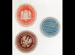 Y14803/ 3 x Siegelmarke Oppeln Schlesien ca.1905-10