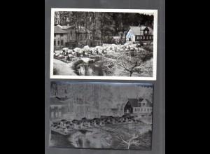Y14891/ Hamburg Bergstedt Gasthaus Alte Mühle AK + Negativ ca.1955