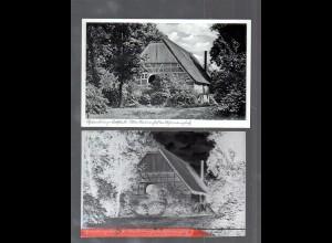 Y14863/ Hamburg Lokstedt Altes Bauernhaus AK + Negativ ca.1950