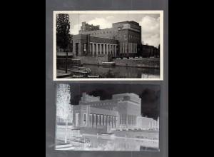 Y14869/ Hamburg Bergedorf Badeanstalt AK + Negativ ca.1940
