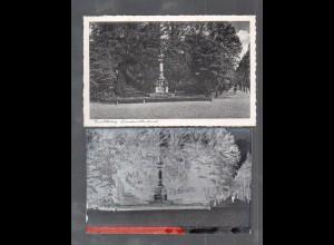Y14842/ Rendsburg Lornesen-Denkmal AK + Negativ ca.1940