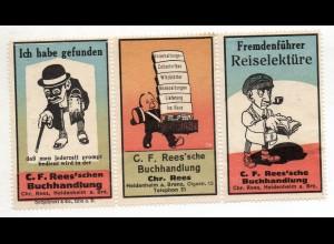 Y14958/ 3 x Reklamemarke C.F. Rees`sche Buchhandlung , Heidenheim ca.1912