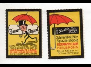 Y14961/ 2 x Reklamemarke Schirmfabrik, Spazierstöcke H. Lade, Heilbronn ca.1912