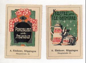 Y14962/ 2 x Reklamemarke Porzellan,Steingut, Kaffee-Geschirr Elsässer, Göppingen