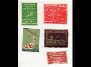 Y14977/ 5 x Reklamemarke Vignette Budapest Flugzeug First Flight 1937-1940