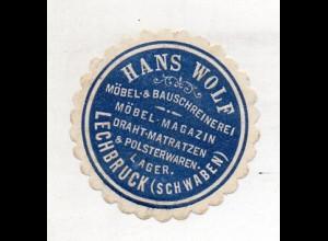 Y14970/ Siegelmarke Hans Wolf Möbel & Bauschreinerei Lechbruck (Schwaben)