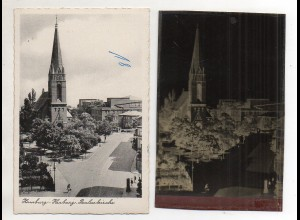 Y14954/ Hamburg Harburg Pauluskirche AK + Negativ ca.1955