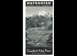 C3614/ Mayrhofen Zillertal Tirol Gasthof Ale Post Prospekt Faltblatt ca.1935