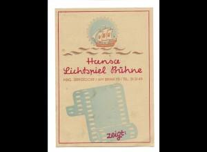 Y15697/ Hamburg Bergedorf Hansa Lichtspiel Bühne Kino Programm 1949