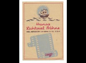 Y15696/ Hamburg Bergedorf Hansa Lichtspiel Bühne Kino Programm 1949
