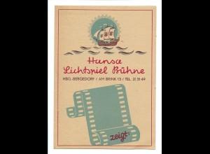 Y15695/ Hamburg Bergedorf Hansa Lichtspiel Bühne Kino Programm 1949