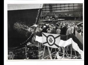 C3714/ Hamburg Hafen Deutsche Werft Schiffstaufe 1953 Foto ca.1970 21 x 15,5 cm