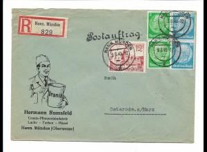 C4214/ R-Brief Hermann Rumsfeld Pflanzenleimfabrik Hann Münden 1940
