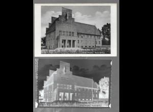Neg5397/ Wedel Neues Rathaus AK und altes Negativ 40/50er Jahre
