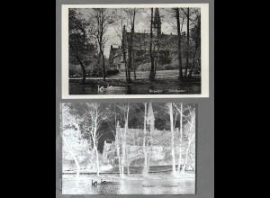 Neg5394/ Hamburg Bergedorf Schloßgarten AK und altes Negativ ca.1950